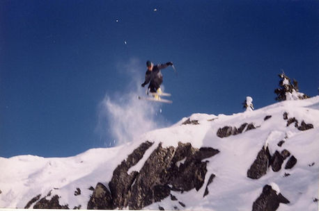 Actor Oryan Landa skiing in British Columbia