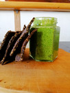Wild weed pesto and blackbean and nettle crackers