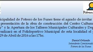 COLOCACIÓN DE LA PIEDRA FUNDAMENTAL DEL NUEVO CENTRO CULTURAL DE POTRERO: INVITACIÓN