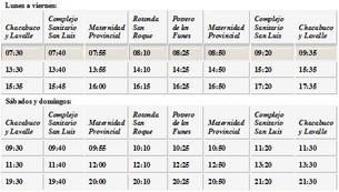 HORARIOS DE COLECTIVO : SERVICIO A LA MATERNIDAD