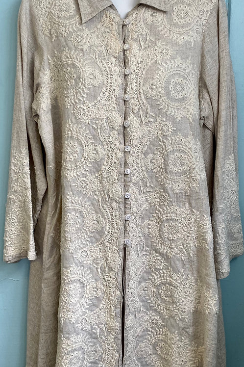 Linen Button Up Blouse with Embroidery in Natural