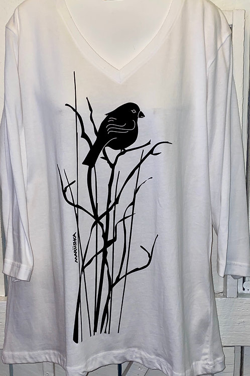 Black Bird in White