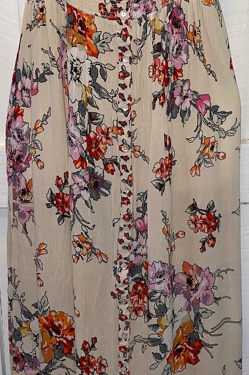 Long Floral Tank Dress in Cream