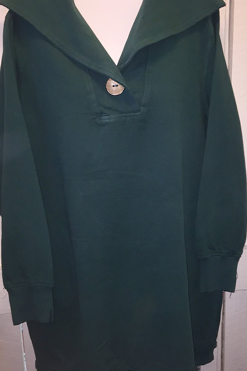 Pullover Sweater with Collar in Green
