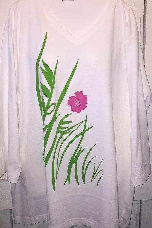 Pink Wildflower in White