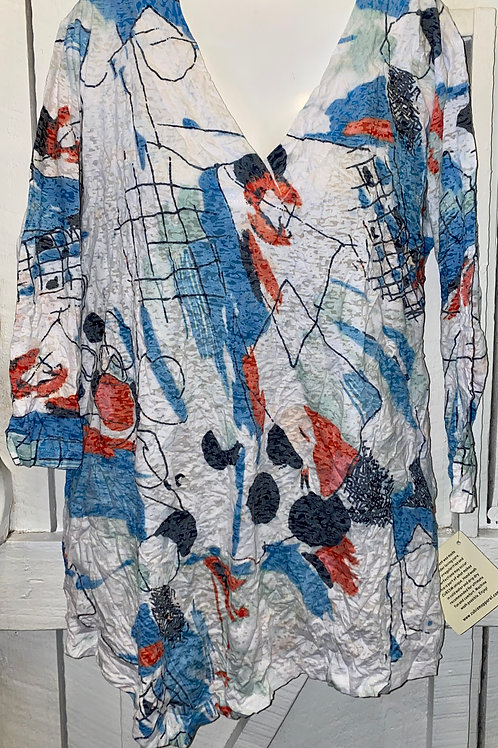 Abstract Burnout Blouse in Red & Blue