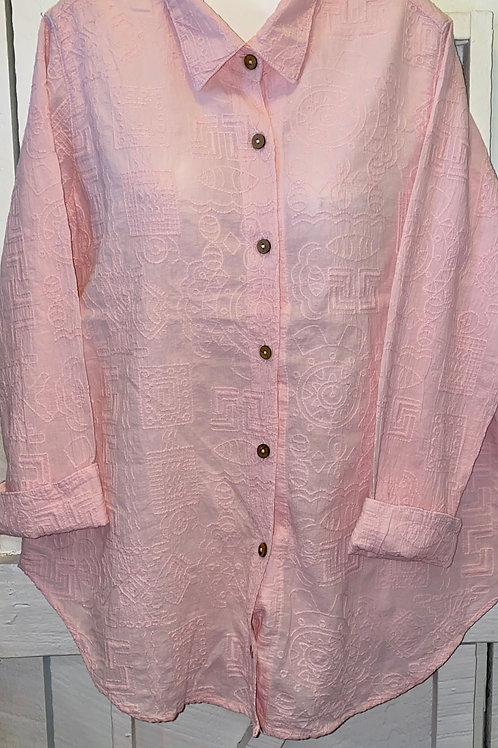 Embroidered Button Up in Light Pink