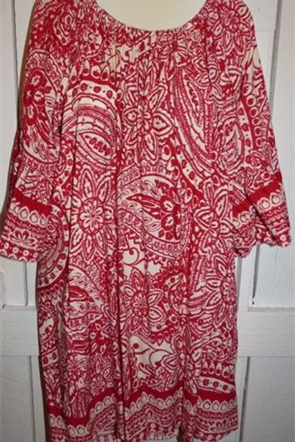 Paisley Print Dress In Red