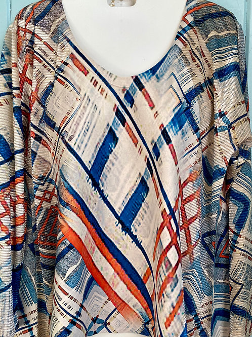 Orange & Blue Mixed Stripes Blouse in Cream