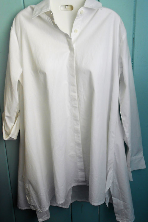 Button Up Asymmetrical Blouse In White