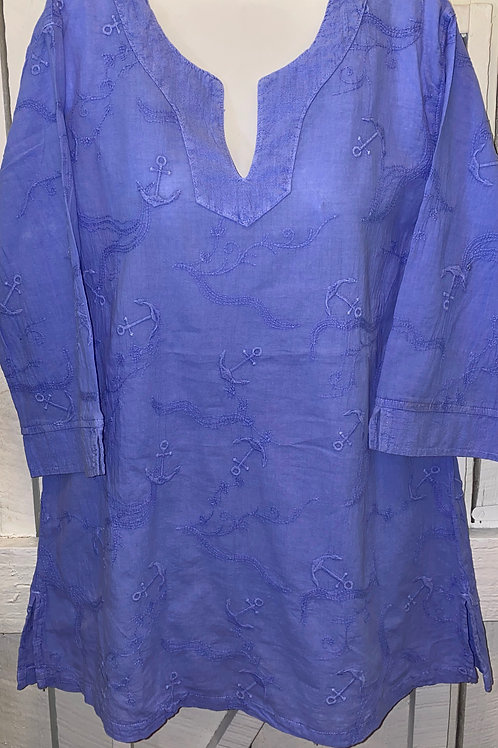 Embroidered Blouse in Periwinkle