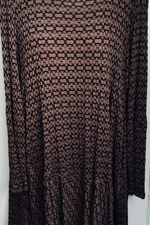 Textured Bubble Tunic In Mocha Brown