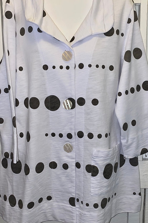 Polka Dot Button Up Jacket in White