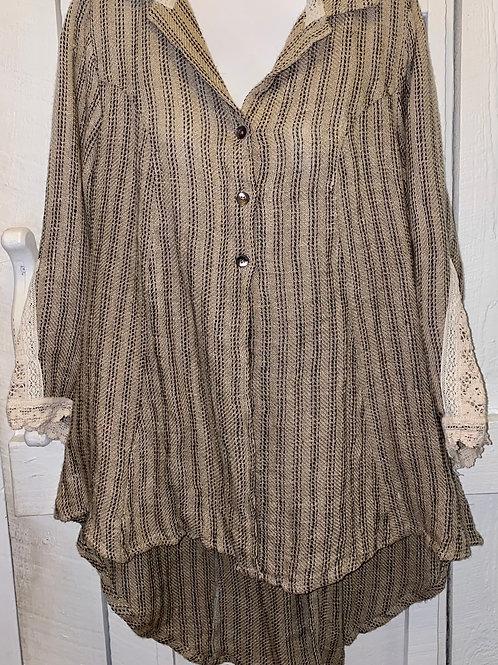 Linen Burlap Striped Button up