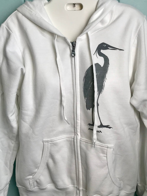 Egret Zip-Up Hoodie In White