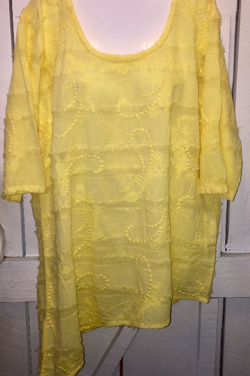 Eyelash Embroidery Blouse with Diagonal Hem in Yellow
