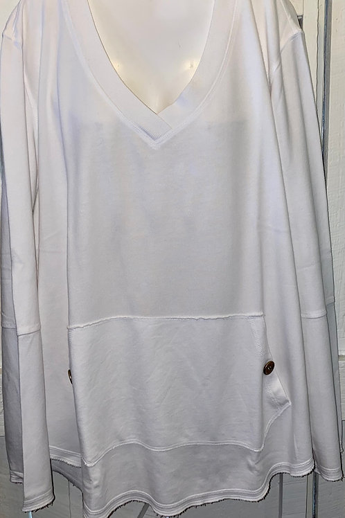 Kangaroo Pocket Pullover in White