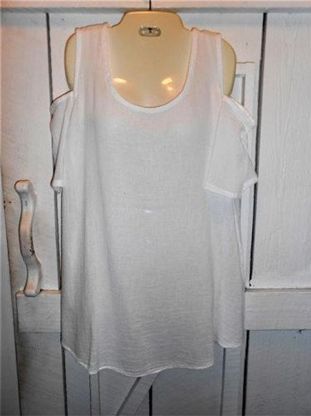 Gauze Cold Shoulder Tank In White