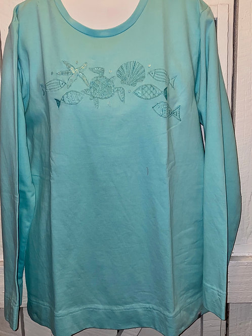 Embroidered Sweater in Aqua
