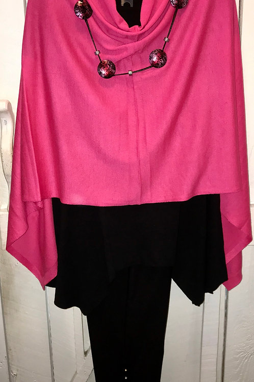 Throw Over Poncho in Hot Pink