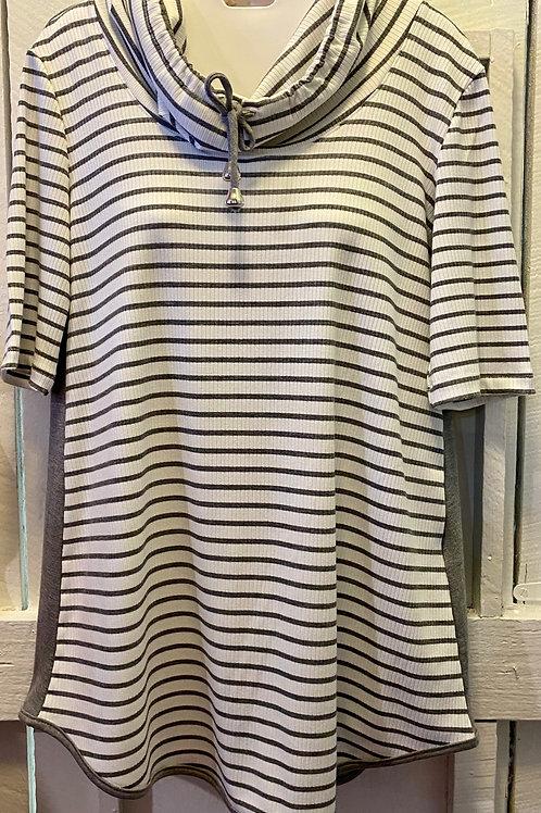 Grey & White Striped Cowl Neck Tunic