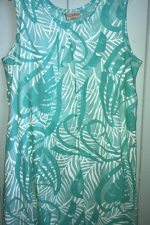 Paradise Tank Dress With Layered Panels In Seafoam
