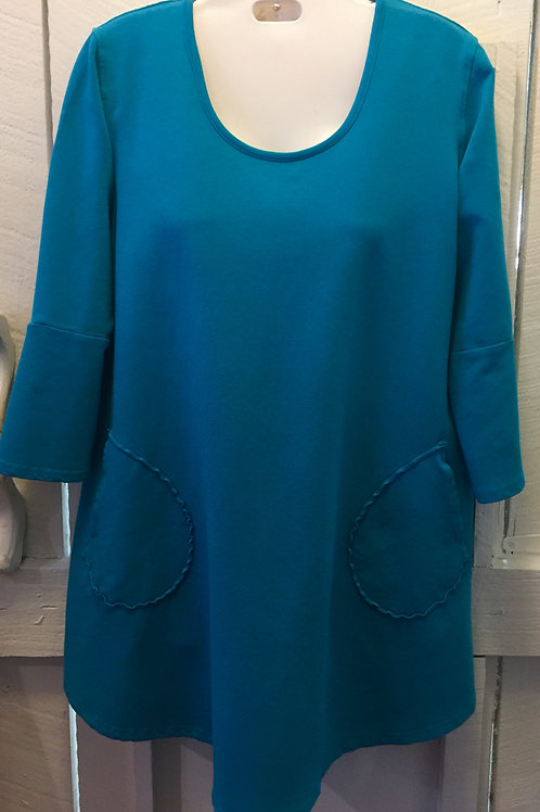 Rose Bell French Terry Top in Azure