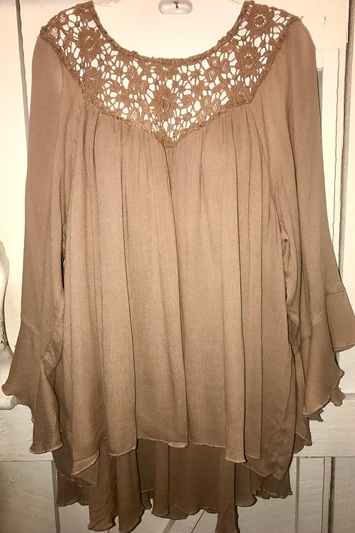 Crochet Blouse In Mocha Brown