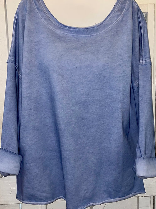 Raw Edge Sweatshirt in Blue