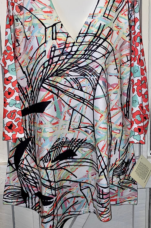 Abstract Floral Knit Top