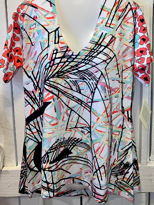 Abstract Floral Knit Top S/S