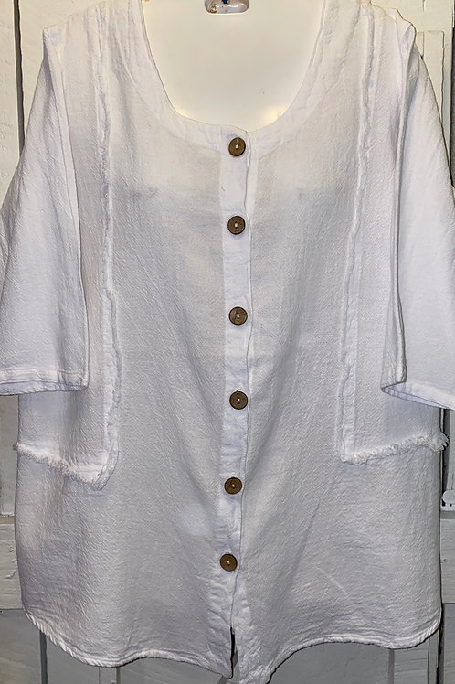 Raw Edge Button up in White
