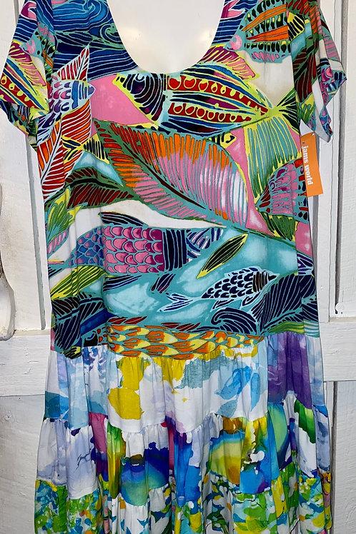 Rainbow Bay Ruffle Dress