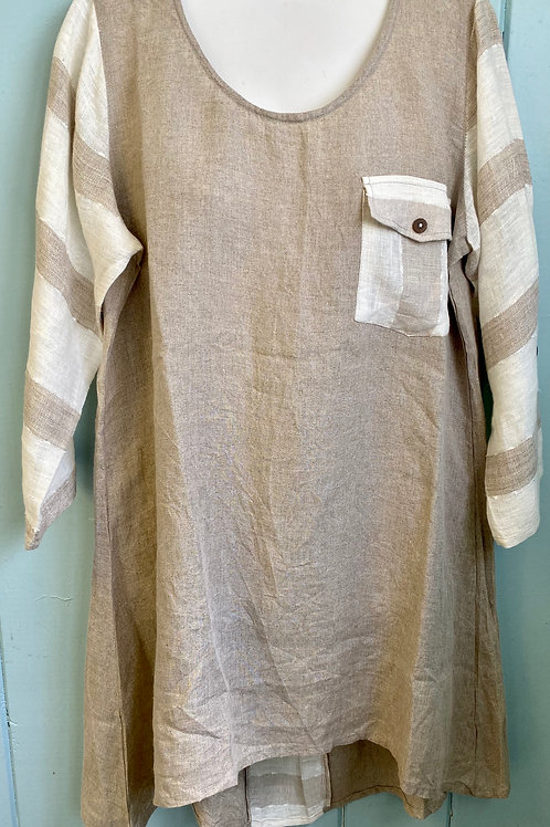 Linen Blouse with Striped Sleeves