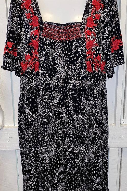 Floral Tie Back Dress in Black