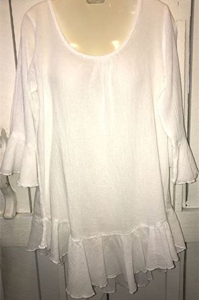 Bell Sleeve French Gauze Top In White