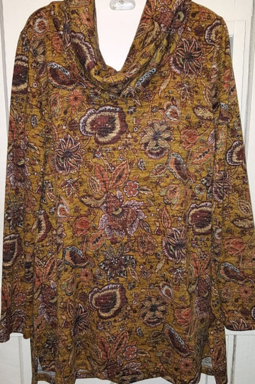 Cowl Neck Sweater Paisley in Mustard Yellow