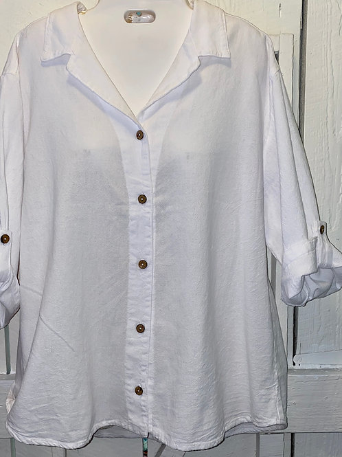 Collar Button up in White