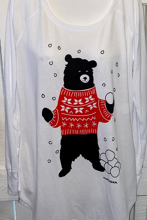 Snowball Black Bear Tunic Tee in White