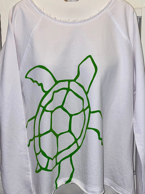 Raw Edge Turtle Pullover in White