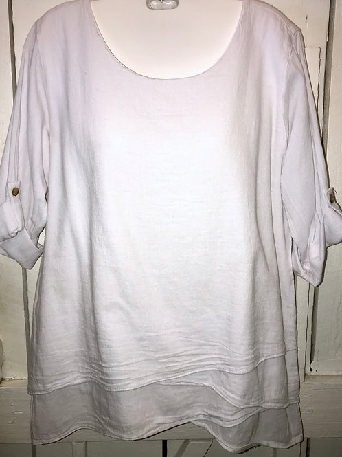 Layered Gauze Blouse in White