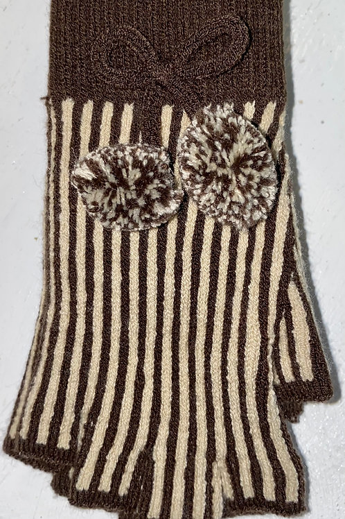 Fingerless Pom Pom Gloves in Brown
