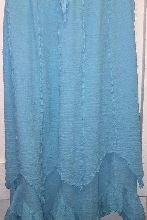 Bubble Gauze Double Layer Skirt in Sky Blue