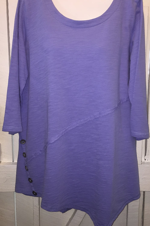 Asymmetrical Tunic with Side Buttons in Peri