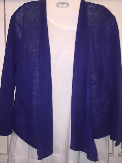 Linen Knit Cardigan in Cobalt Blue