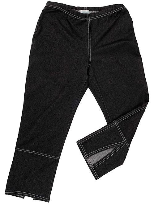 Stretch Denim Back Slit Capri in Black