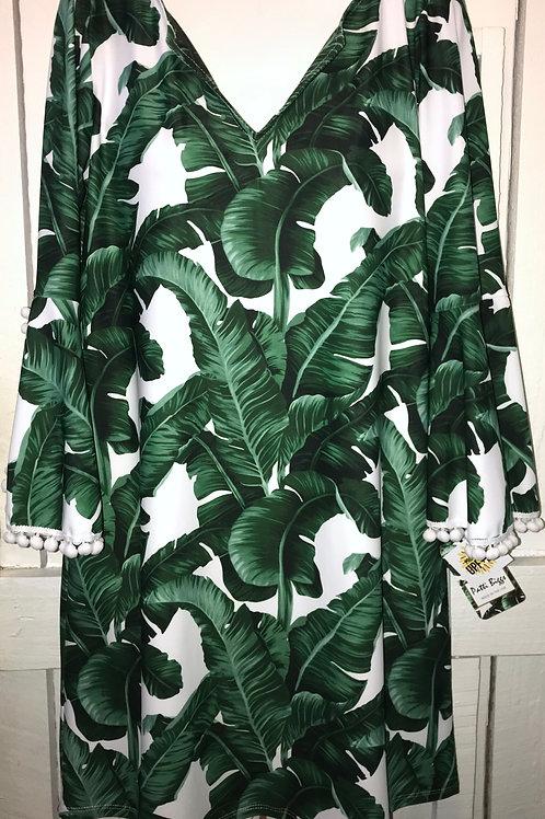 Barbara Dress with Pom Pom Sleeves Banana Leaf