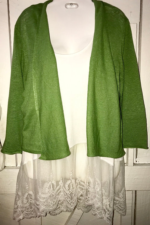 Linen Knit Cardigan in Olive