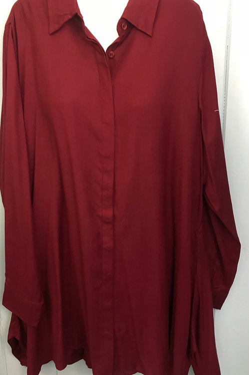 Button Up Blouse In Wine