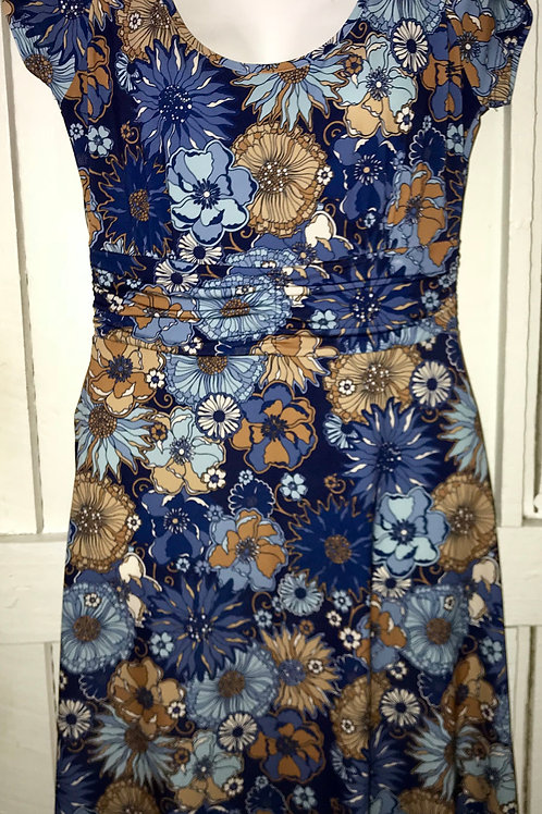 Assorted Flowers Dress in Blue